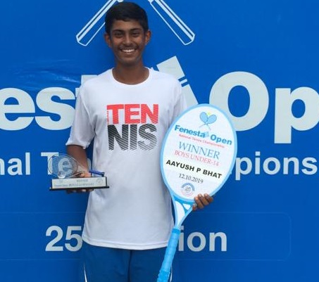 Aayush P Bhat  won the U - 14 singles title at the Fenesta Open