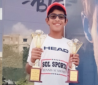 Kriish Tyagi won both Singles and doubles title